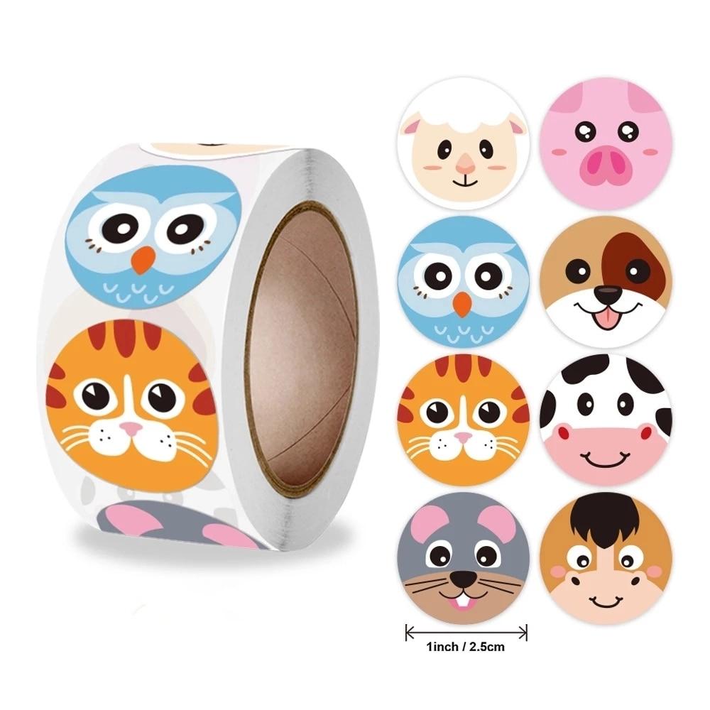 Новый 500 шт./рулон Животные настенные наклейки для детской учитель наклейки награды школьный класс поставки круглый поощрения наклейки