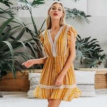 Simplee Women sleeveless boho dress Floral print ruffled high waist summer dress Beach wear casual chic cotton a line mini dress