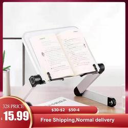 Soporte de lectura ajustable, plegable, de aluminio, para escritorio, soporte ergonómico con página, Clips de papel para cama, oficina, soporte de elevación en casa