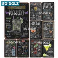 [SQ-DGLZ] Menu Cocktail étain signe Bar décor mural Club métal artisanat décor à la maison peinture Plaques Art affiche