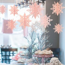 3D Hanging Home  Theme Party Decoration Paper Snowflake 6pcs Set For Christmas New Year Decora