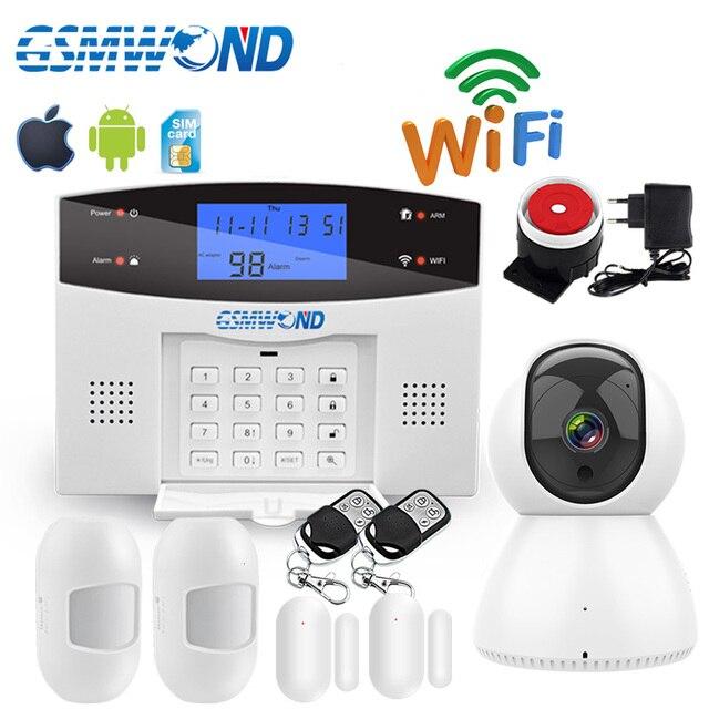Wifi GSM PSTN בית אזעקה מערכת 433MHz אלחוטי חיישן גלאי אבטחה מעורר אוטומטי חיוג הקלטת IOS אנדרואיד APP