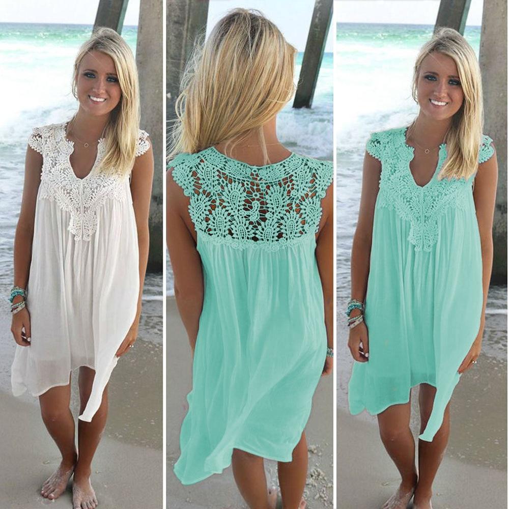 Plus Size 5XL Lace Patchwork Chiffon Sleeveless Loose Dress 2020 Women Summer Boho Beach Solid Casual V-neck Knee Length Dresses
