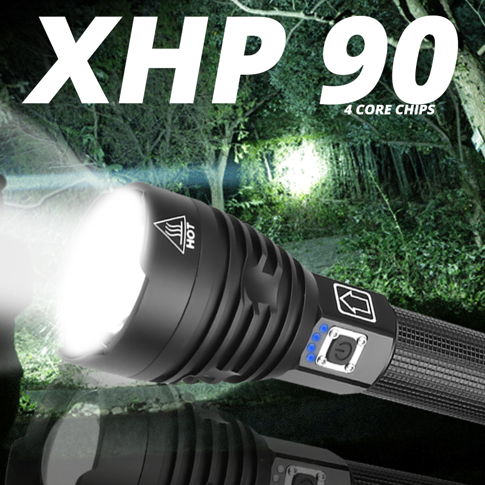 XHP90 Most Powerful LED Flashlight USB Rechargeable Torch XHP50 XHP70 Hand Lamp 26650 18650 Battery Flash Light