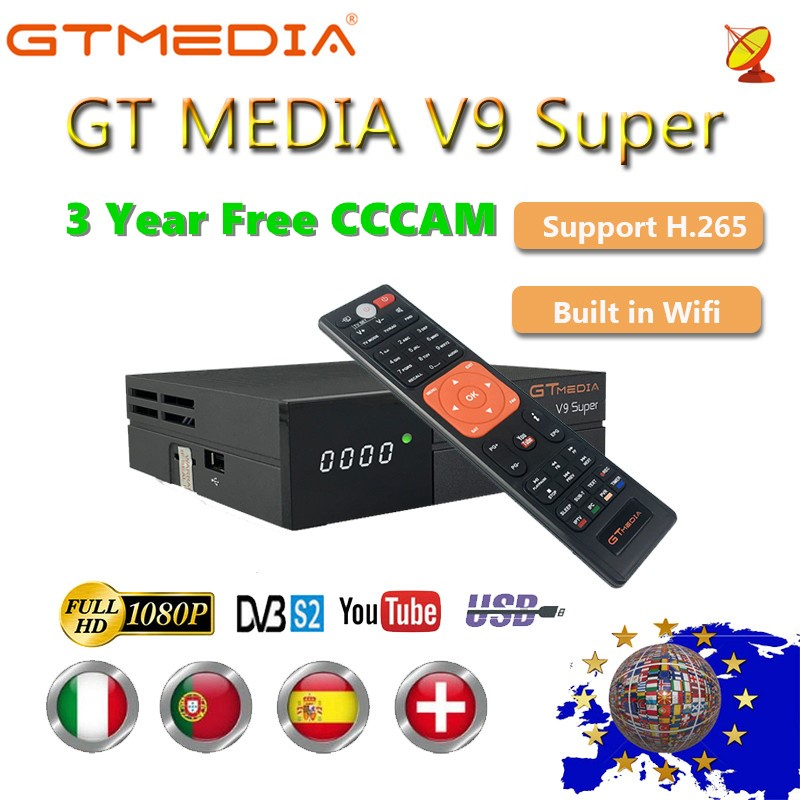 1080P Full HD GT Media V9 Super Europe Cline For 3 Year Satellite TV Receiver H.265 WIFI Same DVB-S2 GTmedia V8 NOVA Receptor