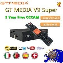 1080P Full HD medios GT V9 Super Europa Cline para 3 años Receptor de televisión por satélite H.265 WIFI mismo DVB S2 GTmedia V8 Receptor NOVA