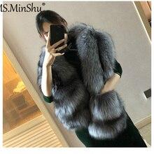 MS.MinShu шарф из лисьего меха роскошный большой шарф из лисьего меха натуральный меховой Палантин из натурального Лисьего меха шаль с карманами модное вечернее платье