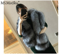 MS.MinShu Fox Fur Scarf Luxury Big Fox Skin Scarf Natural Fox Fur Stole Genuine Fox Fur Shawl Pocket Fashion Evening Dress