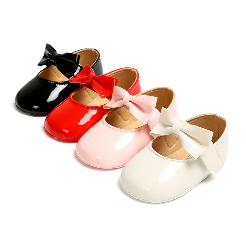 Newborn Toddler Baby Girl Shoes PU Leather Buckle First Walkers With Bow Red Black Pink White Soft Soled Non-slip Crib Shoes