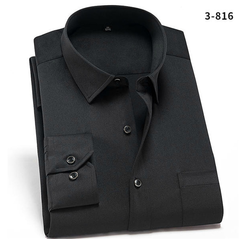2019 New Stretch Cotton Men's Dress Shirts Tops  Shirt Solid Color Casual Male Shirts With Long Sleeves Slim Fit Camisa Social