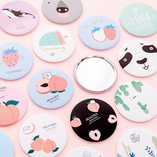 1Pcs Mini Make-Up Spiegel Draagbare Cartoon Hand Make Up Spiegel Reizen Ronde Compact Pocket Cosmetische Hulpmiddelen Beauty Accessoires