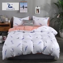 Liv-Esthete Fashion Color Feather Bedding Set Soft Printed Duvet Cover Pillowcase Queen King Bed Linen Bedspread Flat Sheet
