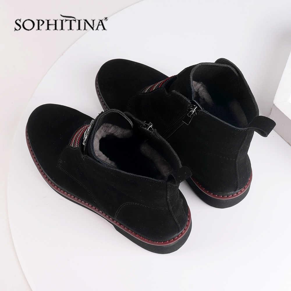 SOPHITINA צמר פרווה קרסול מגפי עור אמיתי באיכות גבוהה נוח כיכר העקב נעלי להתחמם עגול הבוהן חורף מגפי SC526