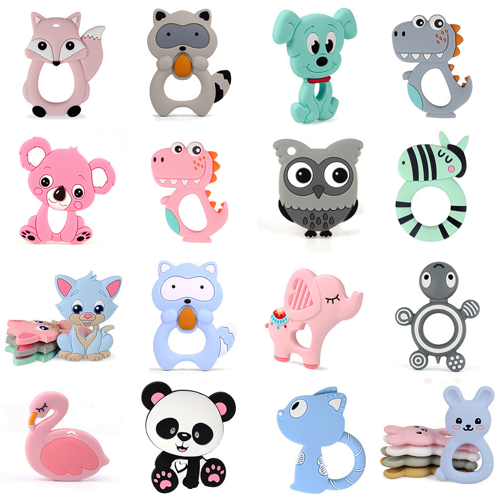 Carton Animal Teether Food Silicone Tiny Rod Bpa Free Baby Teething Toys Koala Silicone Teethers 1pc