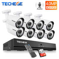 Techege H.265 8CH 4MP Audio CCTV Sistema di Telecamere di Sorveglianza Esterna Impermeabile Kit NVR PoE Kit Telecamera di Sicurezza di Rilevamento del Movimento