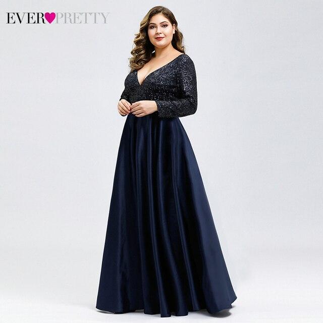 Plus Size Satin Evening Dresses Ever Pretty Sequined Deep V-Neck Long Sleeve Elegant Formal Dresses EP00817 Robe Soirée En Satin 2