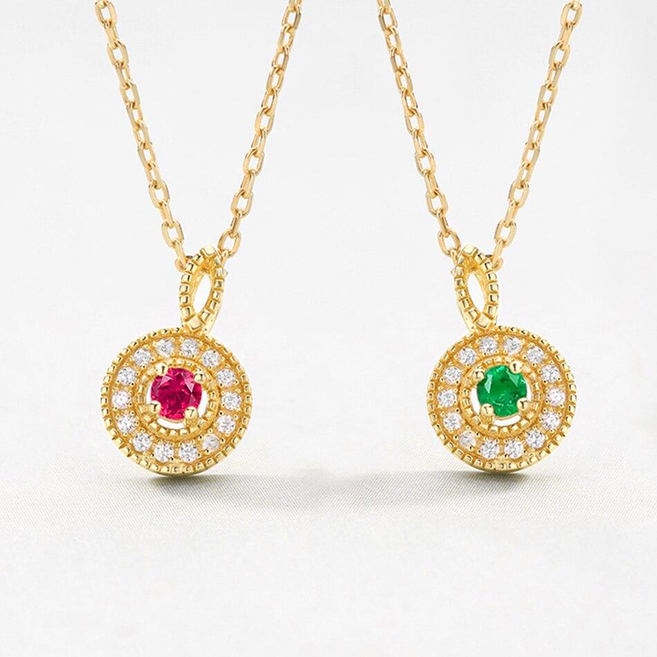 ALLNOEL 925 Sterling Silver Women Necklace 100% Natural Pink Tourmaline Emeralds 2.5mm Genuine Golden Engagement High Jewelry