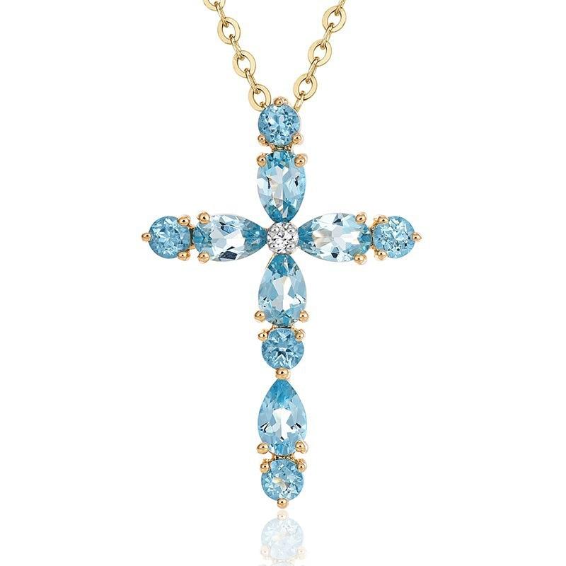 Natural Blue Topaz Pendant Necklace For Women 18k Gold Natural Gemstone Trendy Elegant Cross Pendant S925 Silver Fine Jewelry