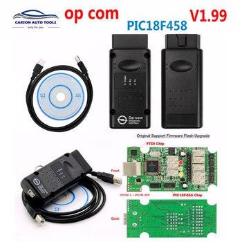 Best OP-COM OP COM Original Chip Diagnostic Interface Auto Diagostic Tool for Opel Opcom V5 V1.99  Version boards op com opcom v1 99 with real pic18f458 ftdi op com obd2 auto diagnostic tool for opel gm opcom can bus v1 7 can be flash update