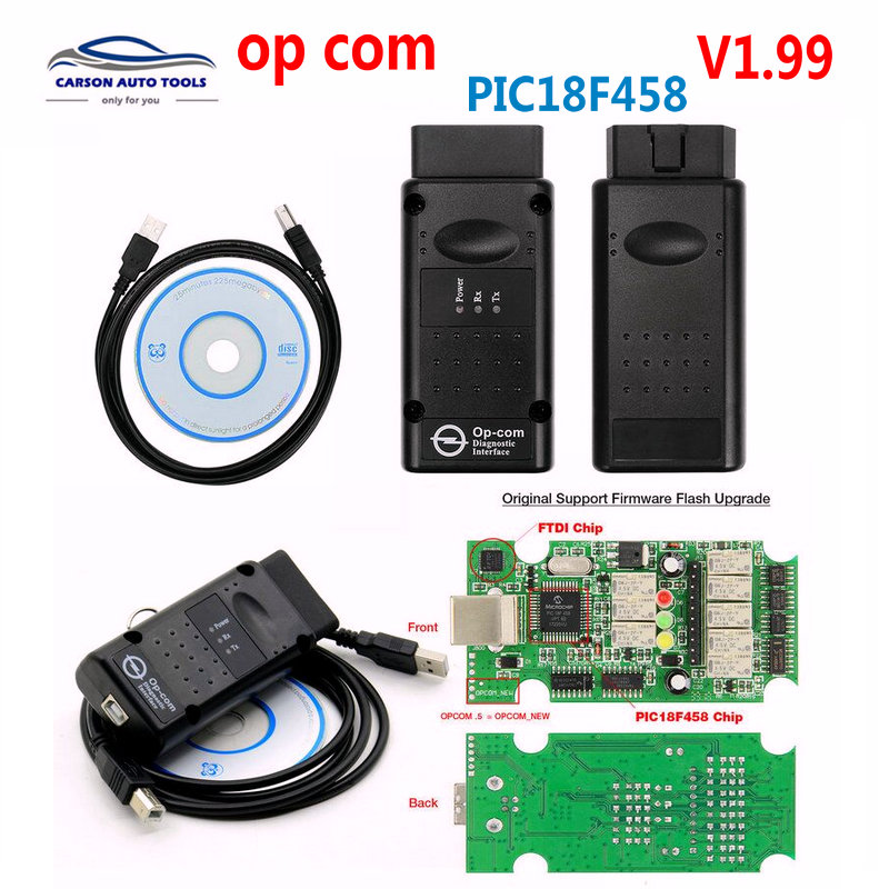 Melhor OP-COM op com chip original interface de diagnóstico ferramenta diagótica automática para opel opcom v5 v1.99 placas versão
