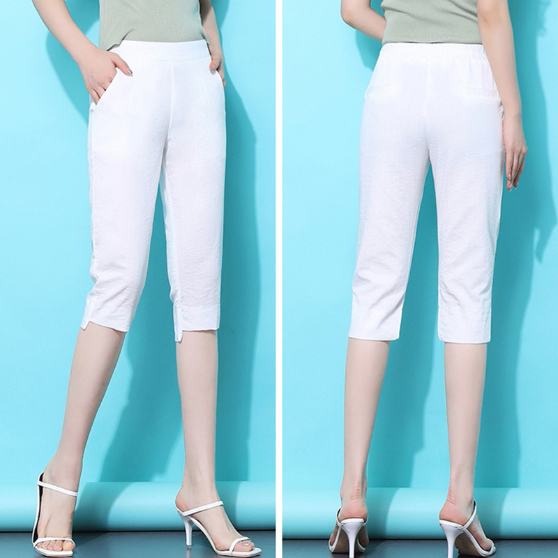 Women Casual Harajuku Calf-Length Trousers 2020 Summer Solid White Pockets Pants Capris Soft Quality For Female Plus Size S- 4XL
