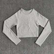Спортивный укороченный топ для йоги Женская бесшовная футболка