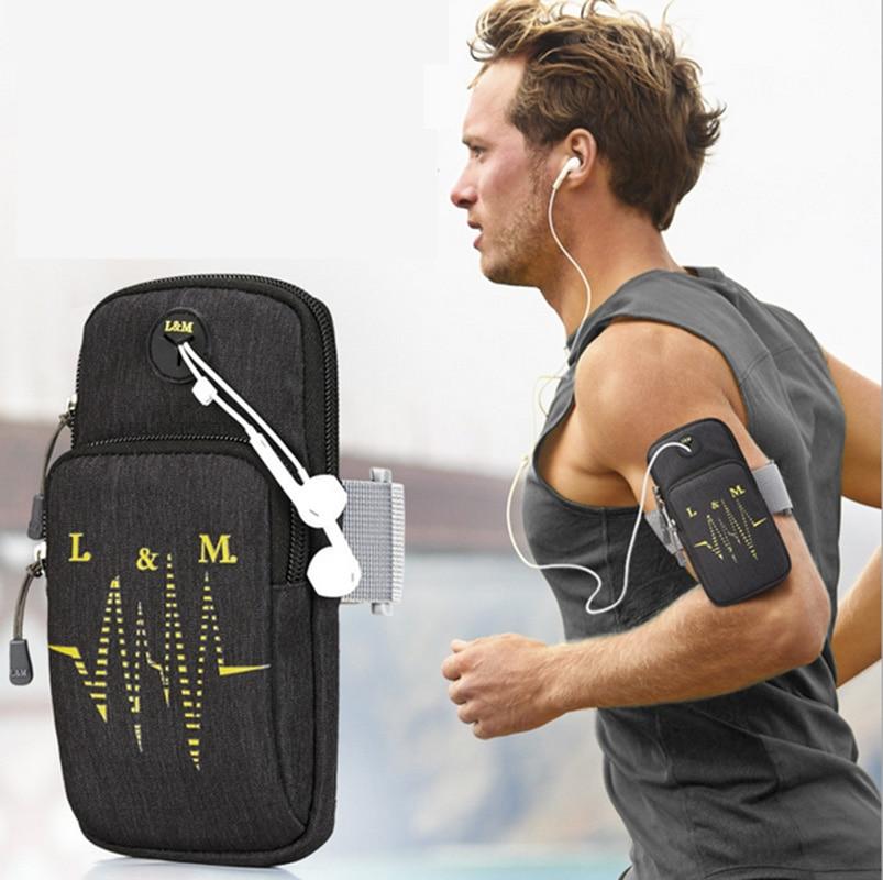 Deporte correr pulsera bolsa en el bolsillo de la mano Universal teléfono móvil paquetes funda para Huawei Iphone Xiaomi Sony Brazaletes negros impermeables para el gimnasio Oneplus 6t 6 5t 5 3t 3 2X1 One Plus 1 + 6t 1 + 6 1 + 5t 1 + 5 funda para el brazo para correr deportes
