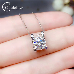 CoLife Jewelry Classic Moissanite Pendant for Daily Wear 0.5ct to 3 Ct Real Chinese Moissanite Necklace Pendant Gift for Girl