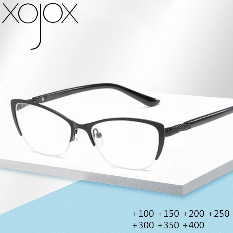 XojoX Cat Eye Reading Glasses Men Women Anti-Fatigue Hyperopia Metal Glasses Elderly Dedicated Diopter Glasses +1.0 1.5 2.0 2.5