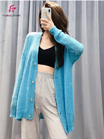 Thin Sweater Women 2020 Autumn Sequin Embroidery Mohair Knitted V neck Cardigan