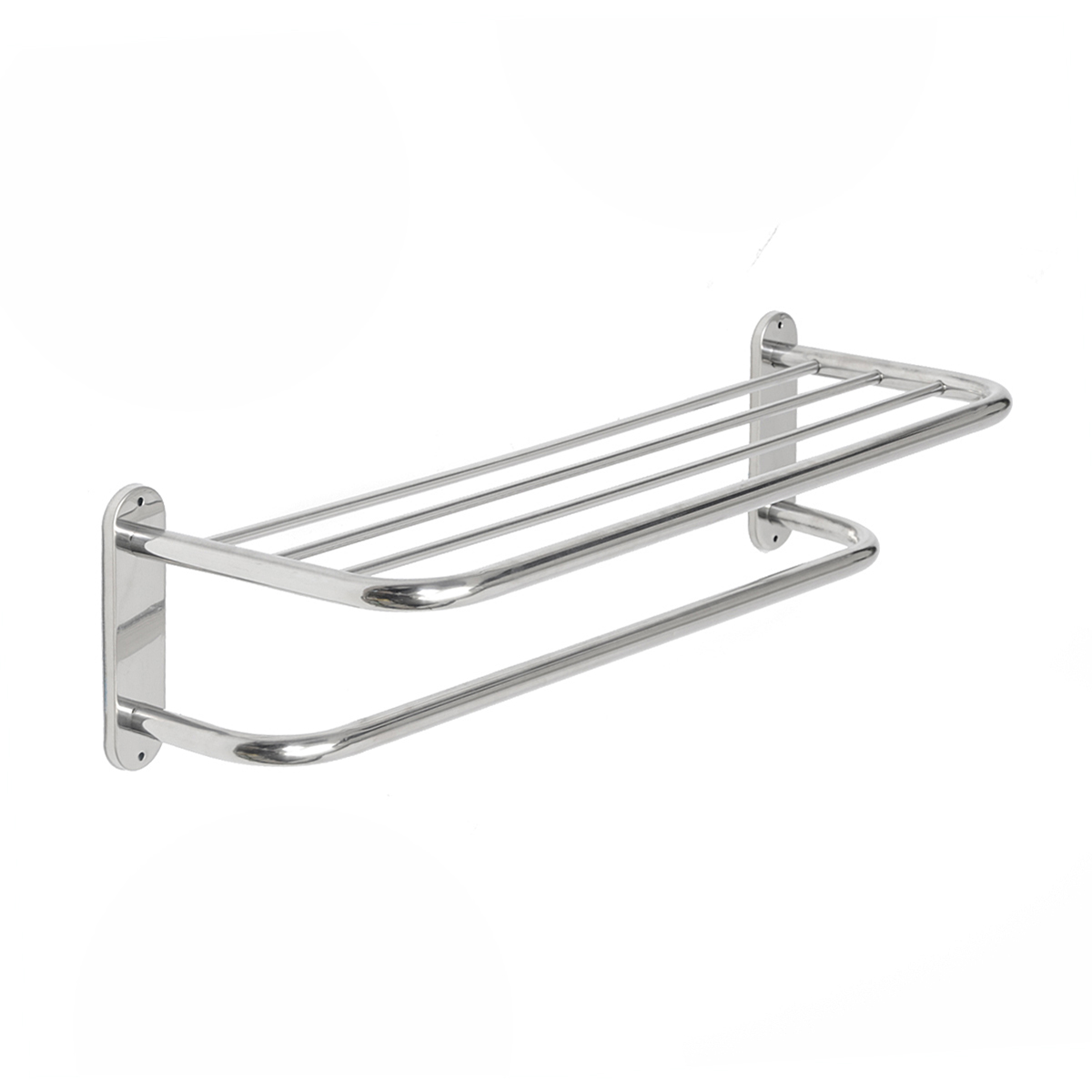 Xueqin 60cm Stainless Steel Chrome Polished Bathroom Wall Mounted Towel Rail Holder Shelf Storage Rack Double Towel Rails Bar