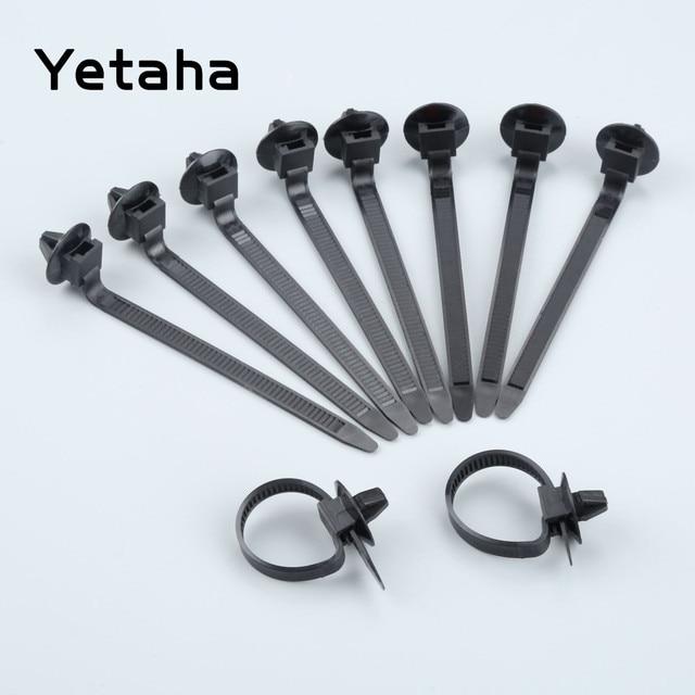 Yetaha 50PCS 자동차 케이블 고정 넥타이 나일론 블랙 자동차 자동 케이블 스트랩 푸시 마운트 와이어 타이 리테이너 클립 클램프