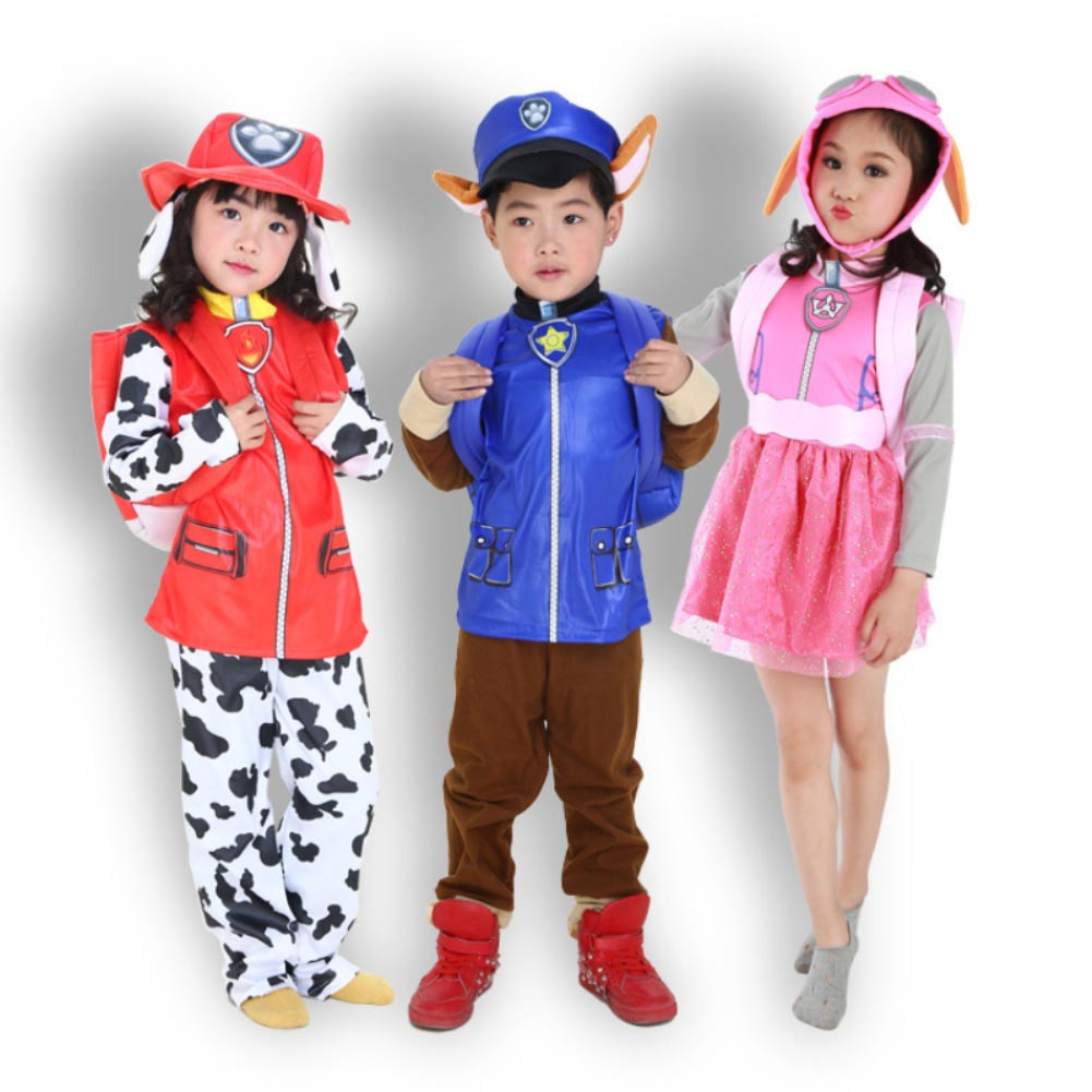 Boy Girl Halloween Party Role Play 2019 New Kids Carnival Clothing Children Patrol Dogs Marshall Chase Skye Cosplay Costume
