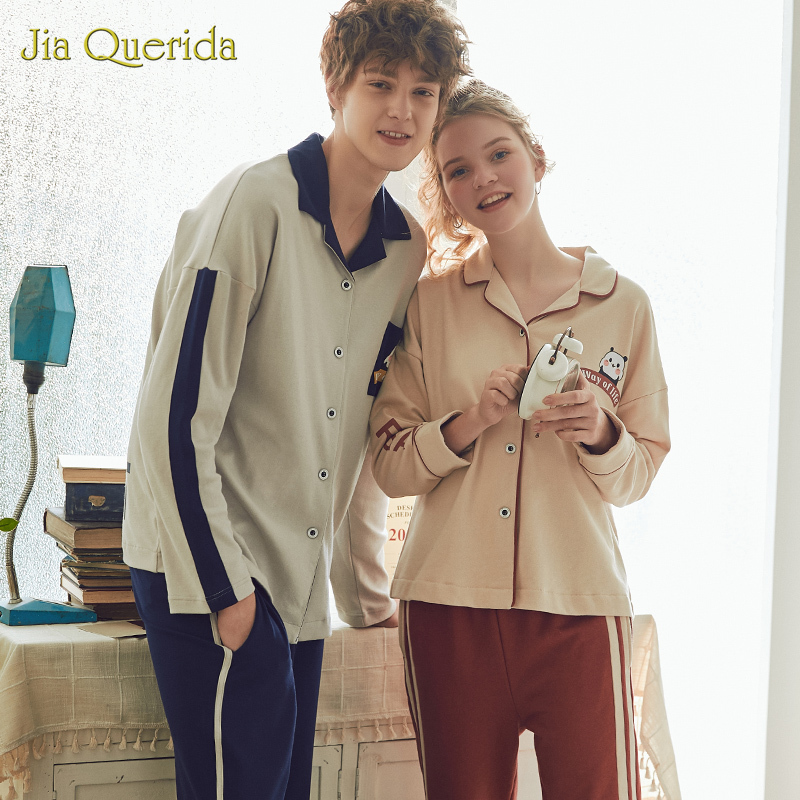 2020 New Homeclothes Turn Down Collar Pajamas For Couple Pajamas Man And Woman Front Pocket Long Sleeve Long Pants Homesuit