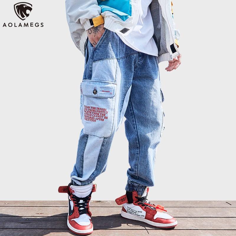 Aolamegs Jeans Men Funny Pockets Denim Pants Men Drawstring Elastic Waist Patchwork Cargo Jeans Trousers High Street Pants