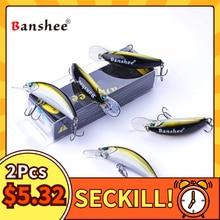 Banshee 2Pcs Crankbaits Fishing Lure Crank Wobblers For Pike/Trolling Wobbler Floating Lures For Fishing Black Minnow Crankbait