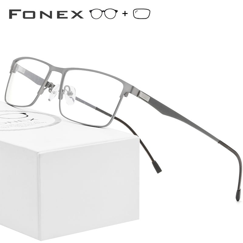 FONEX Alloy Prescription Glasses Men Ultralight Square Myopia Prescription Eyeglasses Frame Male Metal Optical Screwless Eyewear