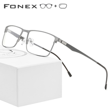 FONEX Alloy Prescription Glasses Men Ultralight Square Myopia Eyeglasses Frame Male Metal Optical Screwless Eyewear