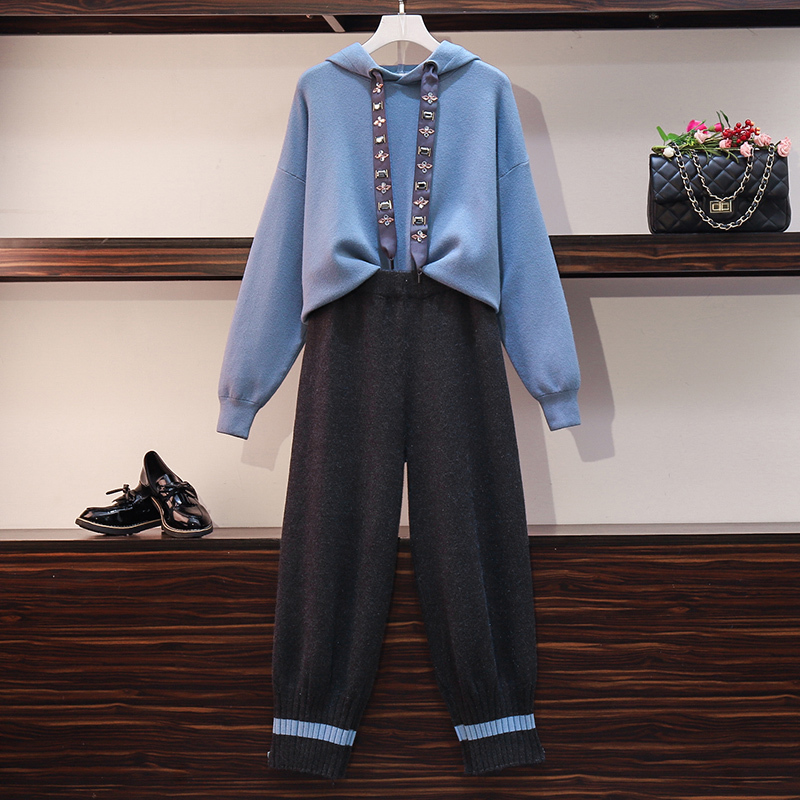 knitted sweater 2 Piece Set Women outfits Long Sleeve Hoodies Tops and wide leg Pant Suits Tracksuit knit Casual Female clothing 24