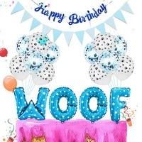 Cartel de feliz cumpleaños para perro, Bandera de WOOF, globo de letras, pata de perro, globos de látex estampados, decoración para temática de fiesta, suministros #
