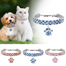 Pet Crystal Necklace Cat Dog Collar Rhinestone Dog Paw Pendant Necklace Puppy Basic Collar Princess Style Pet accessories D40