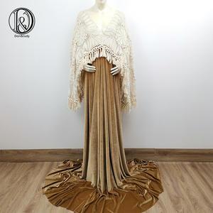 Dress Maxi-Gown Long-Sleeve Photo-Shoot Maternity-Dresses Pregnant-Women V-Neck Velvet