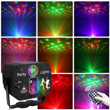 New Christmas RGB Laser Stage Light Projection Atmosphere Star Light For Home Party Bar KTV Voice Control Disco DJ Effect Lamp