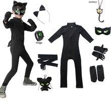 Vêtements de carnaval chat Noir, Cosplay pour enfants, combinaison en Spandex pour filles, Costume de maquillage de vacances d'halloween, vêtements de fête, tendance