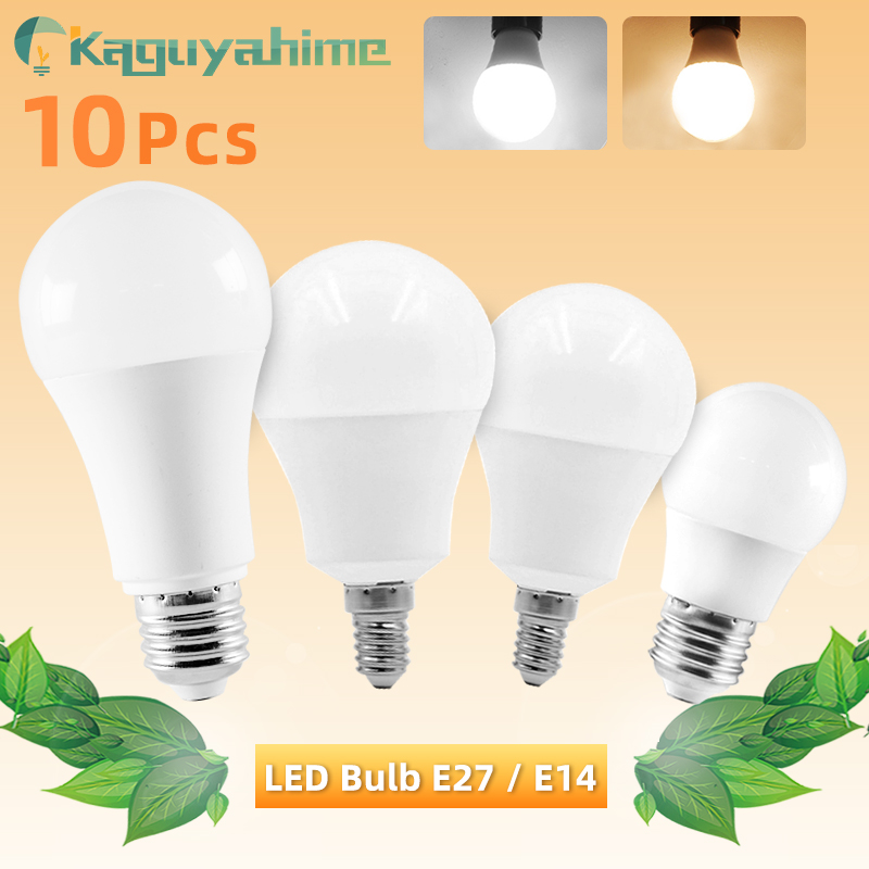 10pcs LED Bulb E27 E14 Dimmable Lamps AC 220V 240V Light Bulb Real Power 20W 15W 12W 9W 5W 3W Smart IC Lampada LED Bombilla
