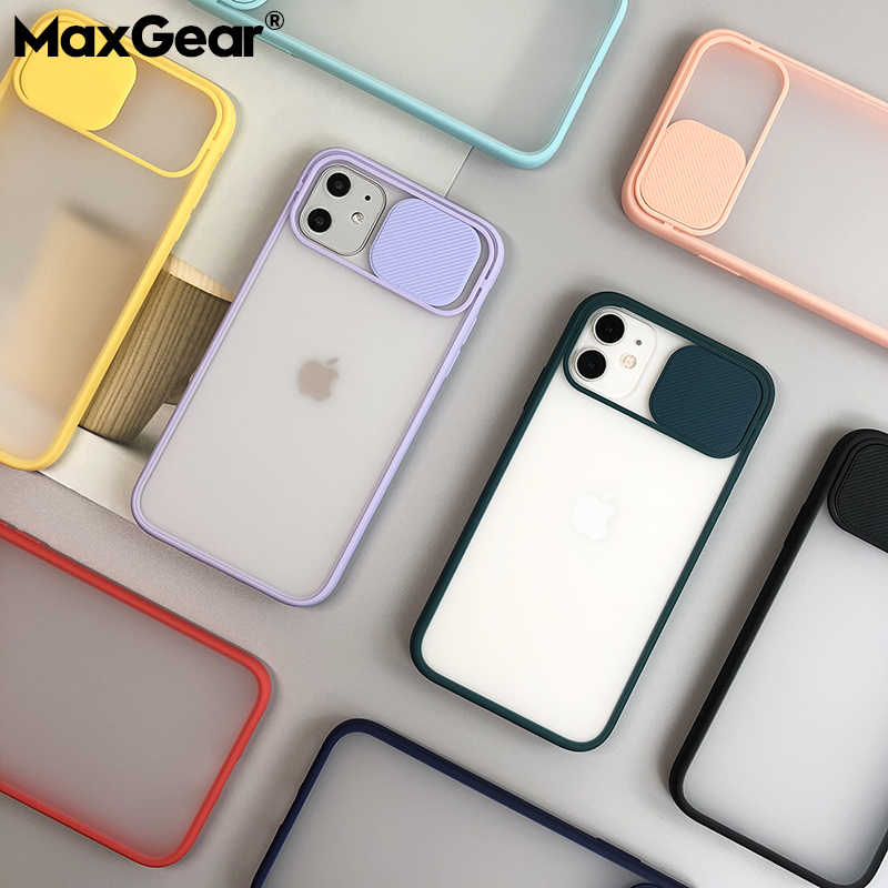 Slide Camera Lens Bescherming Telefoon Case Voor Iphone 11 Pro Xr Xs Max Se 2 6S 7 8 Plus X Matte Transparant Soft Back Cover Shell