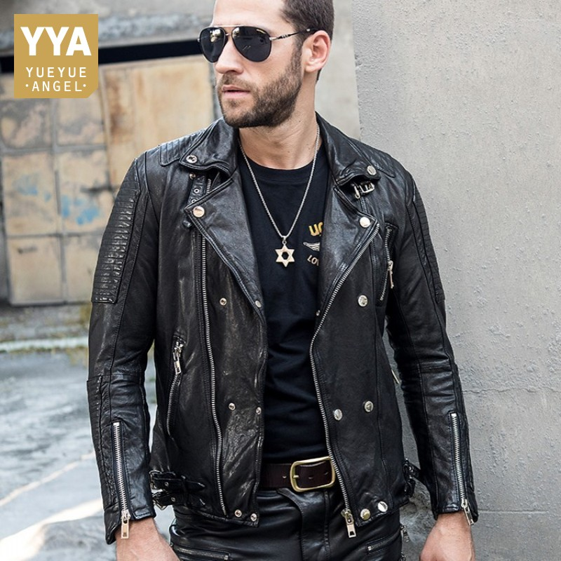Luxury Mens Short Slim Genuine Leather Jacket Buckle Tanning Sheepskin Coat Zipper Designer Motorcycle Jacket Biker Outerwear