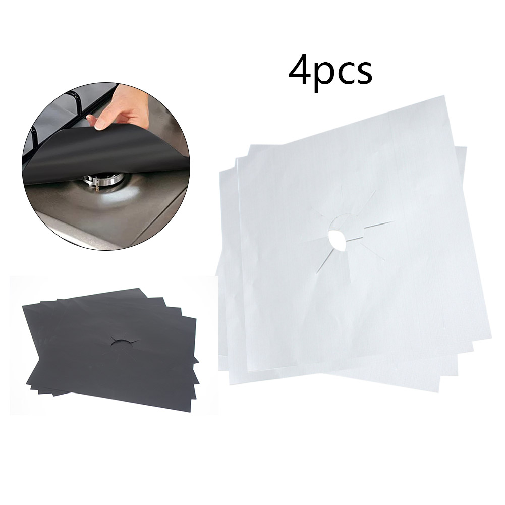 4PCS per Set Reusable and Non Stick Stove Cover Made with Glass Fiber to Protect Gas Stove 1