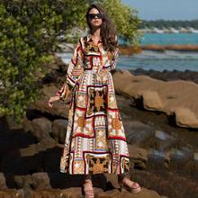 Seluxu 2019 Summer Dress For Women Long Sleeve Boho Single-breasted Ankle-Length Beach