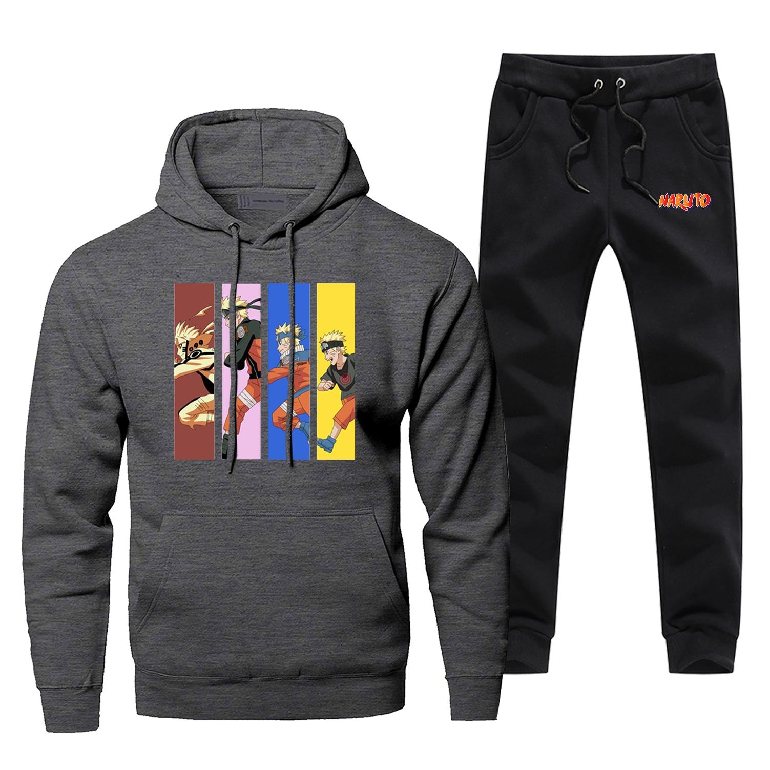 Japan Anime Uzumaki Naruto Running Sweatshirt Tracksuit Hoodies+pants Sets Mens Funny Harajuku Streetwear Sportswear Sweatpants